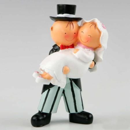 Figura novia en brazos del novio, figura para la tarta de boda