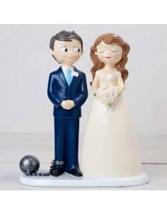 Novio con bola de preso y grillete, figuras divertidas para bodas