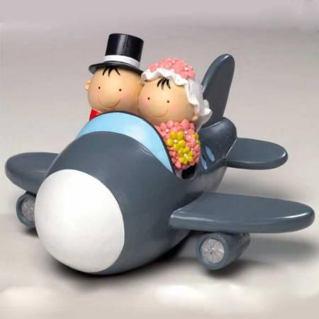 Figura novios en aeroplano, figuras para tarta de boda