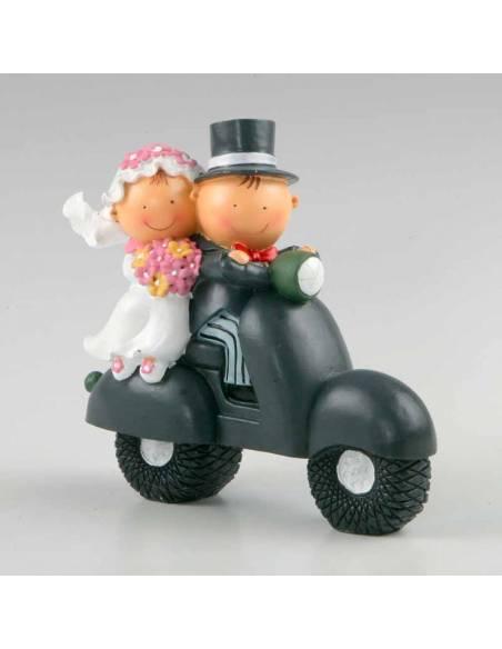 Figura novios en moto, figura para la tarta de boda