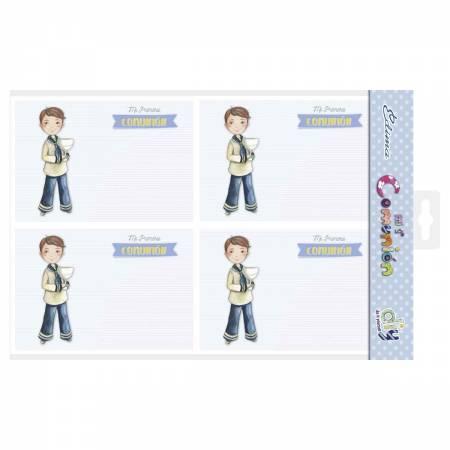 Pack 20 invitaciones para comunión niño con cáliz
