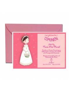 Invitación para comunión personalizada con sobre, niña con cestas de flores