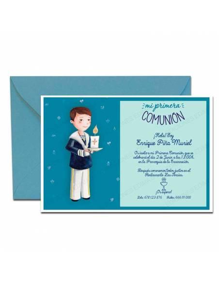 Invitación niño con cirio más sobre azul