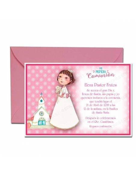 Invitación de Comunión niña, con ramo de flores, y sobre rosa