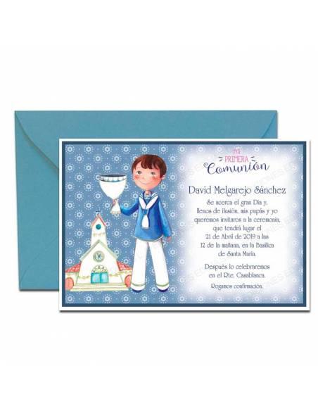 Invitación para comunión, niño con cáliz, y sobre azul