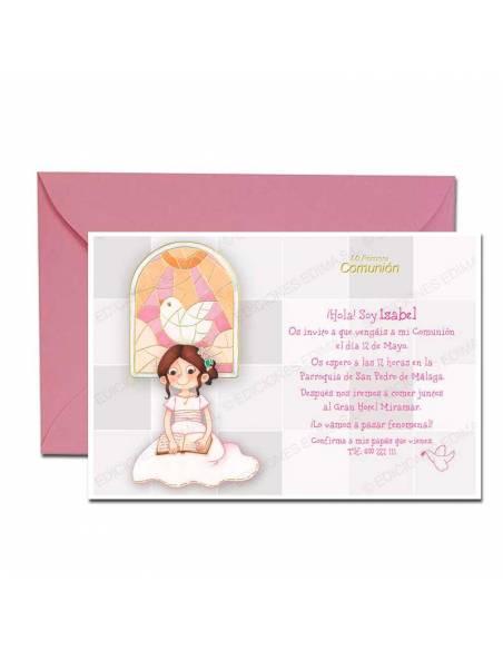 Invitación para comunión más sobres rosa, niña con fondo vidriera