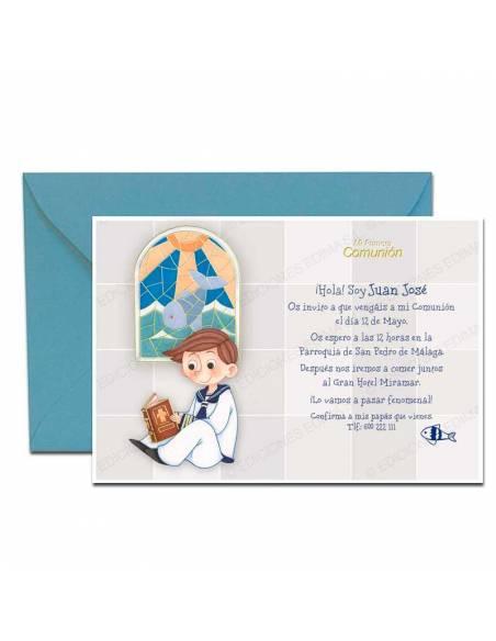 Invitación de Primera comunión más sobre azul, niño vidriera