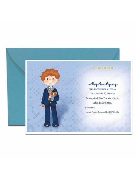 Invitación para comunión más sobre azul, niño con traje