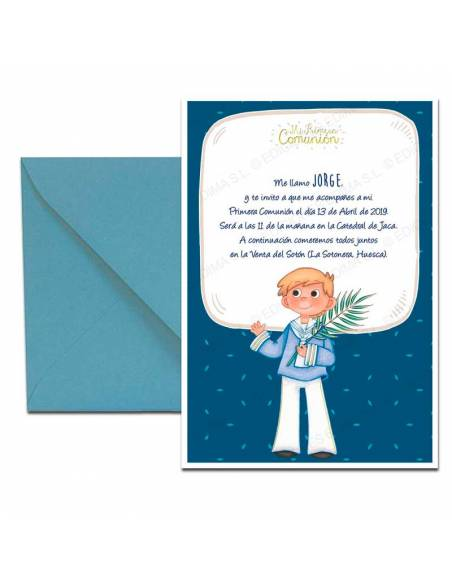 Invitación de Primera Comunión con sobre azul, niño con espiga