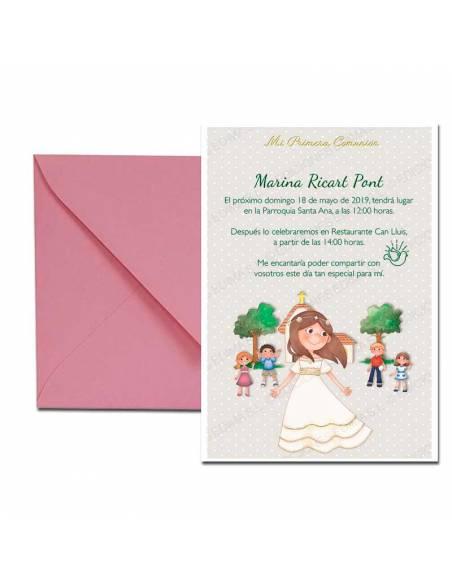 Invitación para Primera Comunión con sobre rosa, niña con amigos