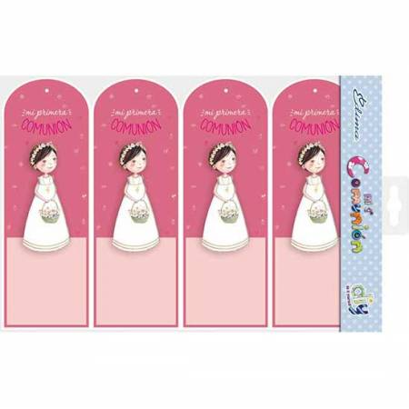 Pack 20 punto de libro Primera Comunión niña con cesta de flores