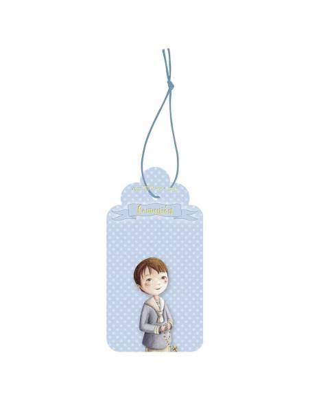 Etiqueta para Primera Comunión niño con rosario