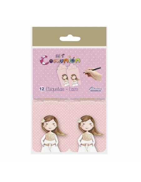 Pack 12 etiquetas Primera Comunión niña con rosario