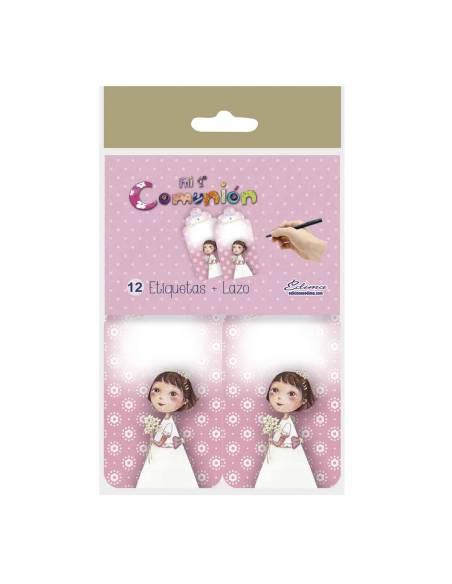 Pack 12 etiquetas niña Primera Comunión con ramo de flores