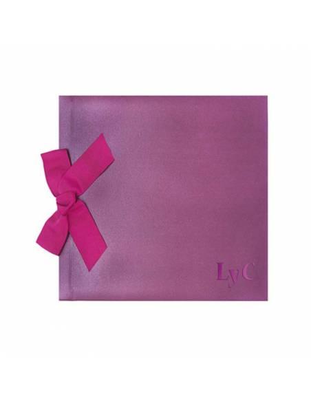 Libro de firmas para boda, lazo lila brillo personalizado con termograbado