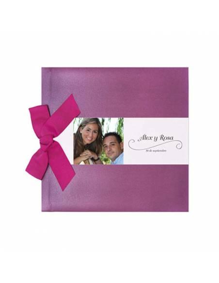 Libro de firmas para boda, lazo lila brillo personalizado con banda horizontal