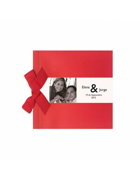 Libro de firmas para boda rojo con lazo, personalizado con banda horizontal con foto
