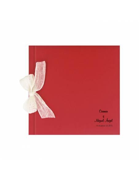 Libro de firmas para boda rojo con lazo personalizado con las iniciales