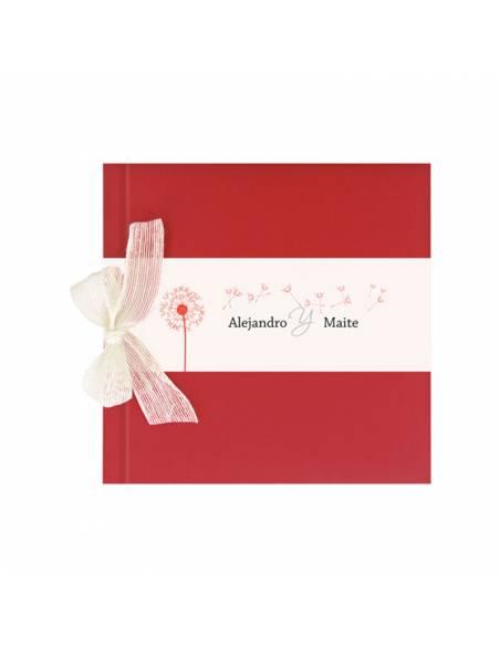 Libro de firmas para boda rojo con lazo, personalizado