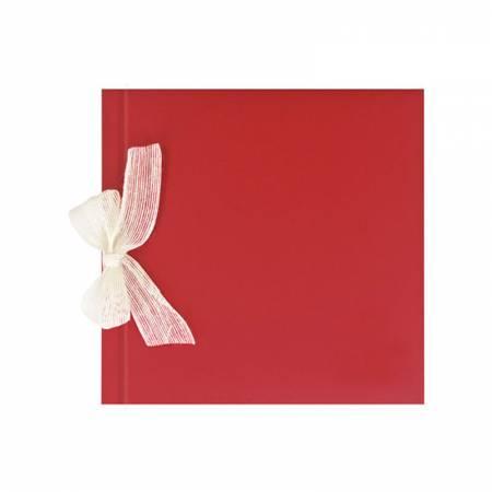 Libro de firmas para boda rojo con lazo