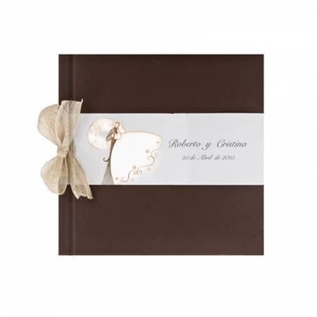 Libro de firmas para boda marrón con lazo y banda horizontal