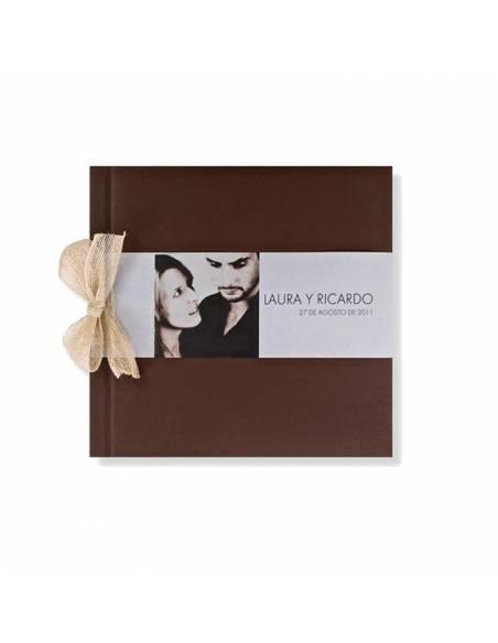 Libro de firmas para boda marrón con lazo y banda horizontal con foto