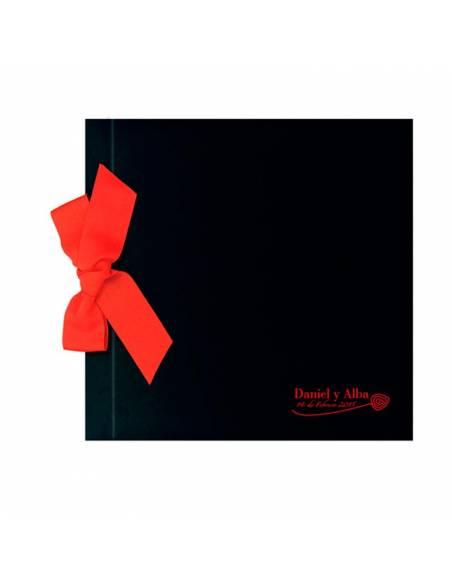 Libro de firmas para boda, negro con lazo rojo