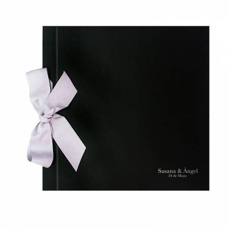 Libro de firmas para boda, negro con lazo blanco