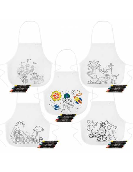 Pack 5 delantales infantiles para pintar, con ceras