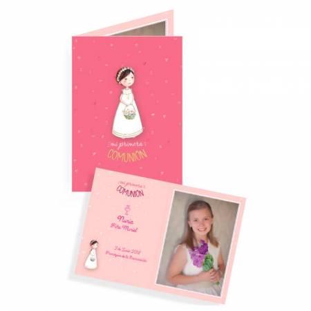 Portafotos de comunión personalizado con la fotografía de la niña