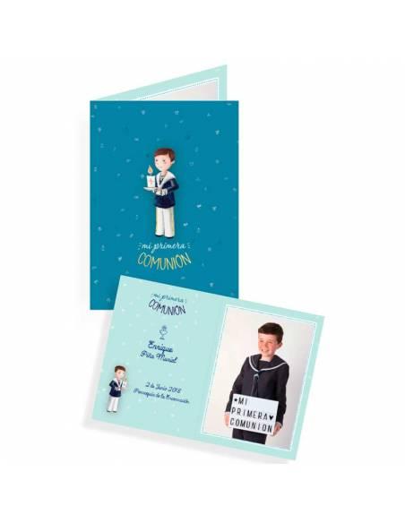 Portafotos comunión para niño, personalizado con foto y texto.