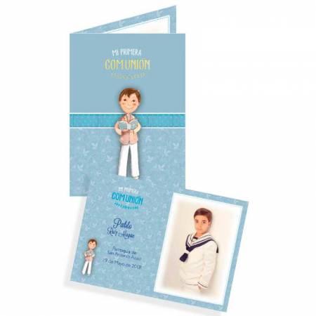 Portafoto de cartulina personalizado con la foto del niño