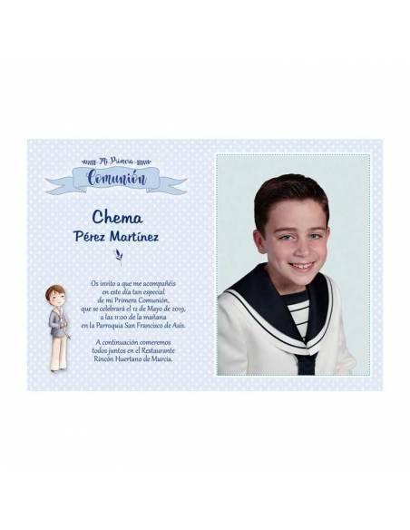 Recordatorio de comunión personalizado con la fotografía del niño