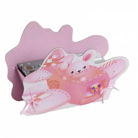 Cesto avión bebe rosa, expositor para los detalles de bautizo