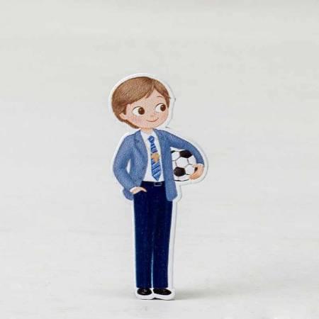Figura adhesiva de 5,5 cm. Niño comunión con pelota