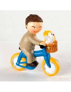 Imán en resina, niño Comunión en bici.
