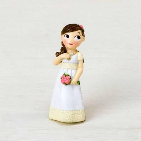 Original imán en resina para Comunión niña romántica con ramo de flores