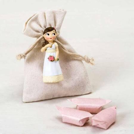 Figura imán niña Comunión romántica en bolsita, con caramelos