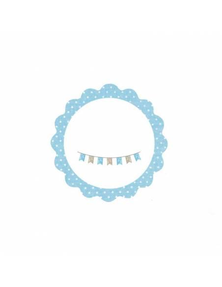 Bonita tarjeta para bautizo de color azul, con 4,5 cm de diametro