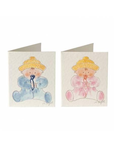 Tarjetita bebé sentado en azul o en rosa, personaliza los detalles de los invitados.