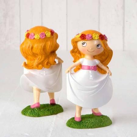 Figura tarta Primera Comunión niña con diadema flores