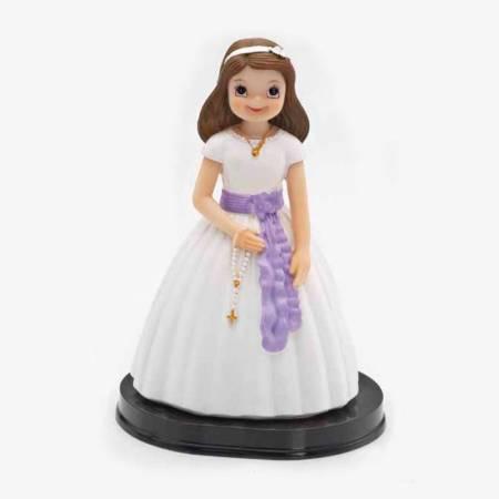 Muñeco para la tarta Primera Comunión niña fajin lila