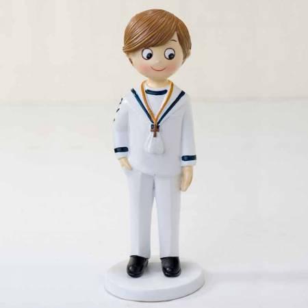 Muñeco para la tarta Primera Comunión niño marinero mano en el bolsillo y cruz