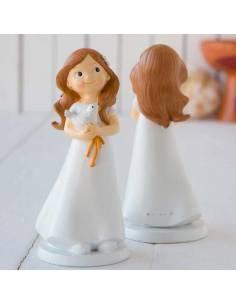Muñeco para la tarta Primera Comunión niña con paloma en las manos