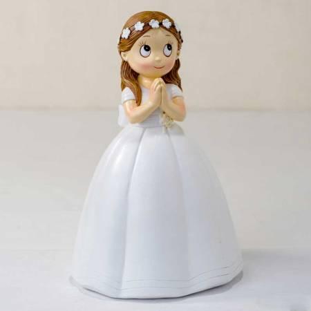 Muñeco para la tarta Primera Comunión niña corona de flores manos juntas