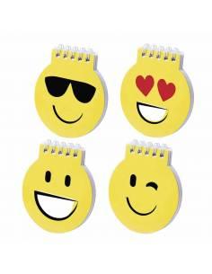 Libreta de divertidos diseños emoji en llamativo color amarillo