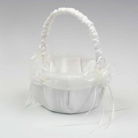 Cesta para arras, redonda, color marfil, con tul perlitas 15 cm(diam)