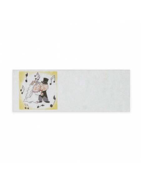 Tarjeta adhesiva novios bailando, medida: 1.7 x 5 cm.