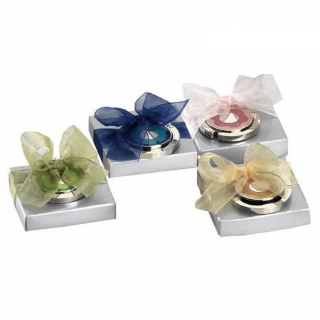 Cuelgabolsos plegable flor, con lazo y tarjeta personalizada