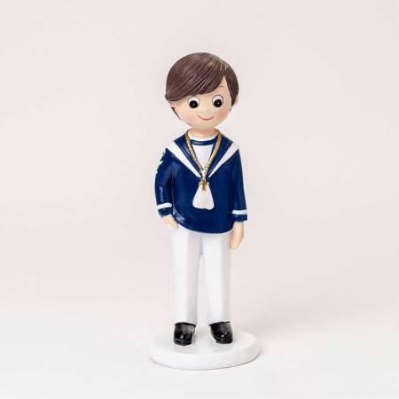 Figura para pastel de Comunión niño marinero con camisa azul y pantalón blanco
